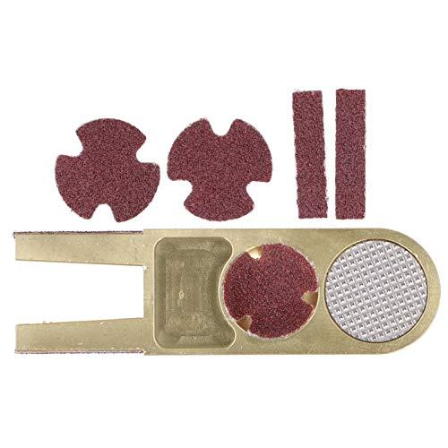 DSJSP Reparador de Tacos de Billar, Accesorios de la Herramienta del recortador de Cabezales de Tacos de Billar Material: aleación de Aluminio Color: Dorado Tamaño: Aproximadamente 8x2.5cm/3.1x1.0in