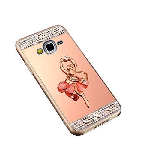 Surakey Cover Samsung Galaxy Grand Prime G530, Specchio Silicone Morbido Cover con Anello Supporto Bling Strass Glitter Diamante Hard Case Sottile Custodia per Galaxy Grand Prime G530,Ragazza Oro Rosa