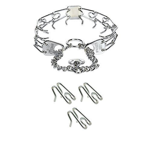 Herm Sprenger Prong Training Collar and Herm Sprenger Collar Links  Steel Chrome Plated Ultra Plus Prong Training Collar 16'' and 3 Pack of 2.25mm...