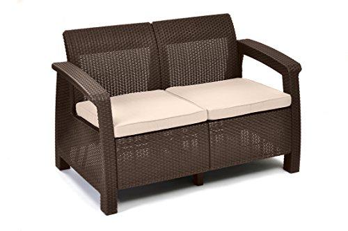 Keter Corfu Love Seat All Weather Outdoor Patio Garden Furniture w/ Cushions, Brown