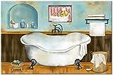 Pintura decoración 30x50 cm sin marco baño rústico azul bodegón impresión de cartel retro bañera fregadero imagen de la sala de estar moderna decoración del arte de la pared