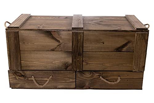 Moooble 1x Holztruhe mit Deckel + 2 Schubladen   85,5x42x43,5 cm   stabile Spielzeugtruhe Holz als 'Schatzkiste' mit viel Platz   zum sitzen - 2