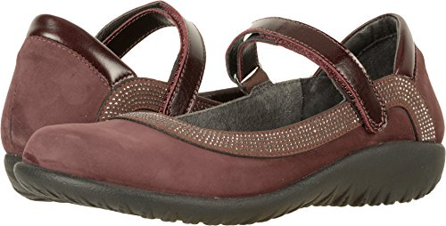 NAOT Women's Tahi Maryjane Shoe Burgundy Combo w/Gunmetal Rivets 10 M US
