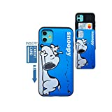Kubrick iPhone 11 Card Wallet Case Peanuts Snoopy UV Printing Card Slide Cover Bumper Protection