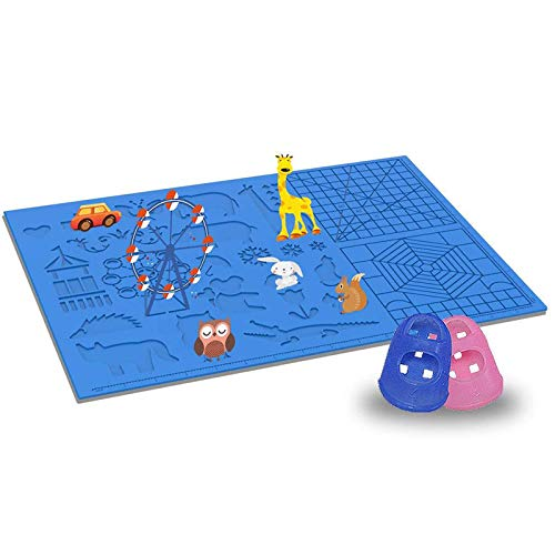 Tappetino per Penna Stampa 3D in Silicone, Tappetino in Silicone con 2 Protezioni per le Dita, con Motivo Animale di Base, Regalo per Principianti, Giocattoli Educativi per Bambini, Adulti