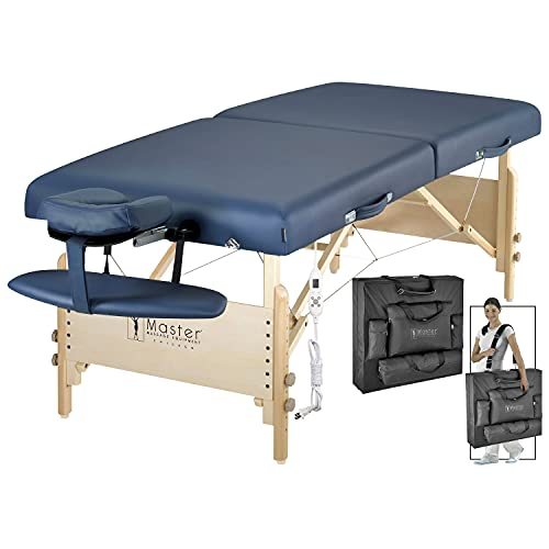 """Master Massage 30"""" Coronado ThermaTop Massage Table Portable Heated, Heating Folding Massage Therapy Table for Masasge Therapy Beauty Spa, Adjustable Height Face Cradle with Carrying Bag - Royal Blue"""