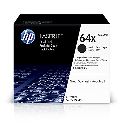 HP 64X CC364XD, Negro, Cartuchos Tóner de Alta Capacidad Originales, Pack de 2, para impresoras HP LaserJet P4014, P4014n, P4014dn, P4015, P4015dn, P4015n, P4015tn, P4015x, P4515n, P4515tn y P4515xm