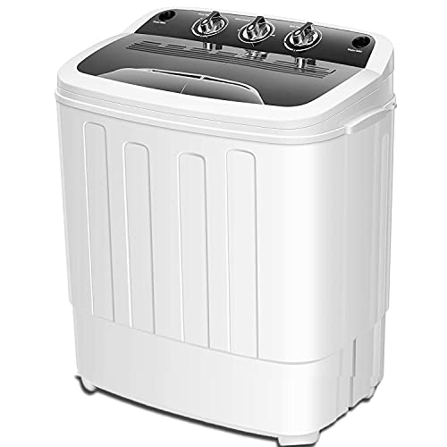 Portable Washing Machine Double Bathtub 12.4 Lbs Compact Mini Washer and Dryer Combo with Timer Control, Clothes Washing Machine for Apartment Dorm RV Camping