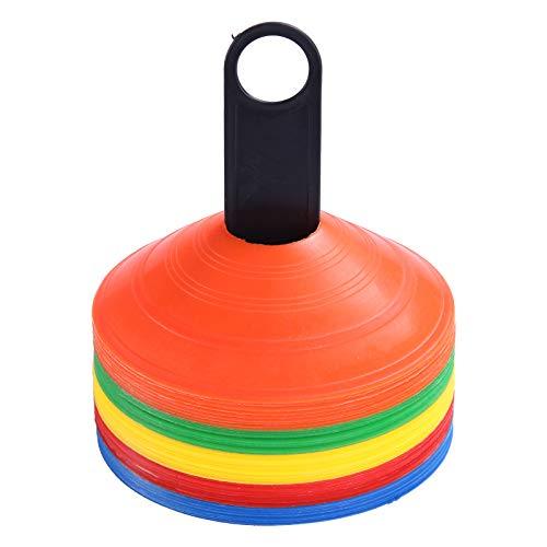 Trintion 50Stk Mehrfarbig Set Markierungshütchen Perfektes Fussball Trainingszubehör Für Slalom Trainingszubehör Das Hütchen Training Im Fussball Hockey Mehrfarbig