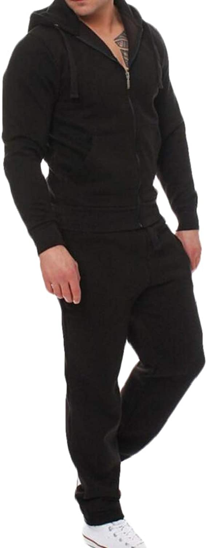 Domple Mens Zipper Hoodie Jacket Two Pieces Jogger Pants Tracksuit Outfit Set