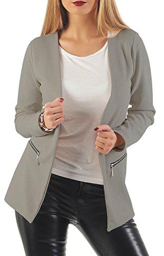 Damen lang Blazer mit Taschen (501), Farbe:Grau, Blazer 1:44 / XXL