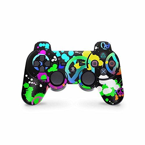 Skins4u Controller Skin Designfolie Aufkleber kompatibel mit Playstation 3 PS3 Unity Peace Signs