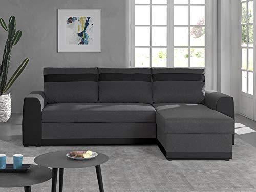 Bestmobilier - Capri - Canapé d'angle réversible - 4 Places - Convertible avec Coffre - en Simili et Tissu