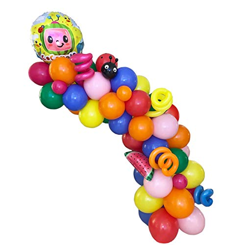 YNOUU 128 Pcs cocomelon Theme Party Balloons Arch Garland Kit Decorations, Foil Balloons Blue Orange Green Red Pink Colors Latex Balloons for Kids Family Birthday Party Supplies