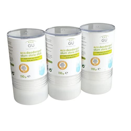 GU Planet - Pack de 3 Desodorantes Naturales - 110 g - Desodorante de Piedra de Alumbre 100% - Elimina Bacterias sin Cerrar los Poros - Sin Parabenes, Alcohol o Conservantes - Cosmética Natural