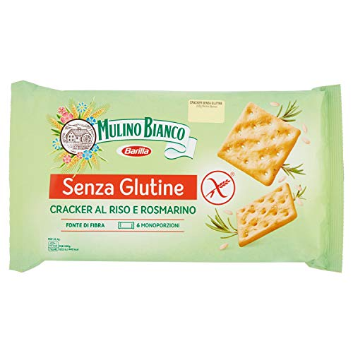 Mulino Bianco Cracker Senza Glutine con Riso e Rosmarino, Snack Gluten Free Ricco di Fibre e Gusto - 200 gr