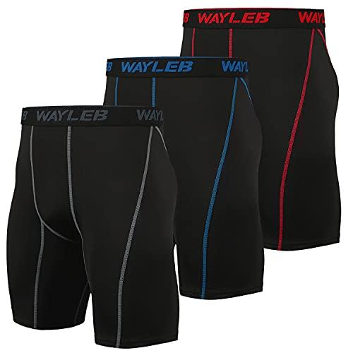 Wayleb Pantaloncini Compressione da Uomo, Leggings Pantaloncini Sportivi Traspiranti da Ciclismo da Uomo