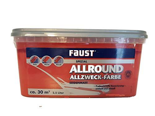 Faust Allround Allzweck-Wandfarbe seidenmatt 2,5 Liter, Farbe:mingrot