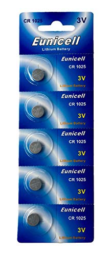 Eunicell 5 x CR1025 3V Lithium Knopfzelle (1 Blistercard a 5 Batterien) EINWEG Markenware