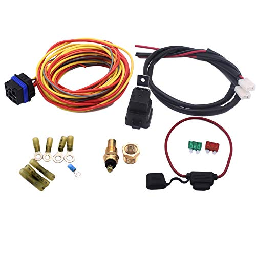 GSKMOTOR 40 A Relay 185/165 Degree Dual Electric Cooling Fan Control Harness Wiring Kit