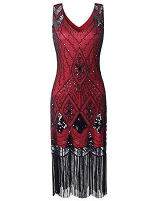 Women Flapper Dress 1920s Vintage - Double V Neck Gatsby Dress Fringed Art Decor Fancy Dress for Prom 20s Parties