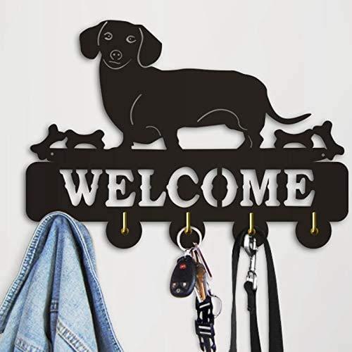 "Welcome Wood Key Holder - Modern Key Holder for Wall – 5 Metal Key Hooks – Mounted Key Hanger – Key Organizer Key Chain Hooks – Decorative Entryway Organization – Decorative Key Rack - 12""x8"""