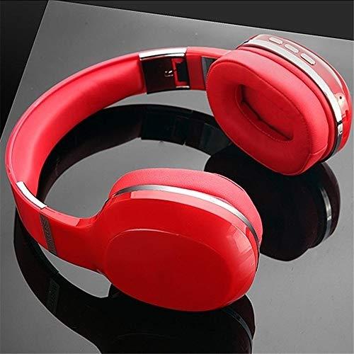 ZzheHou Casque De Jeu 5,0 Basses Profondes sans Fil Rechargeable Pliable Gaming Headset USB Filaire Bluetooth Léger Et Confortable (Color : Red, Size : M)