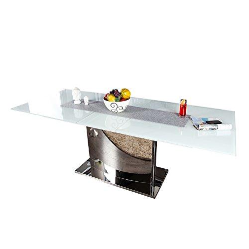 Invicta Interior Ausziehbarer Design Esstisch Concord Glastisch Chrom weiß 180-220 cm Tisch mit Glasplatte ausziehbar