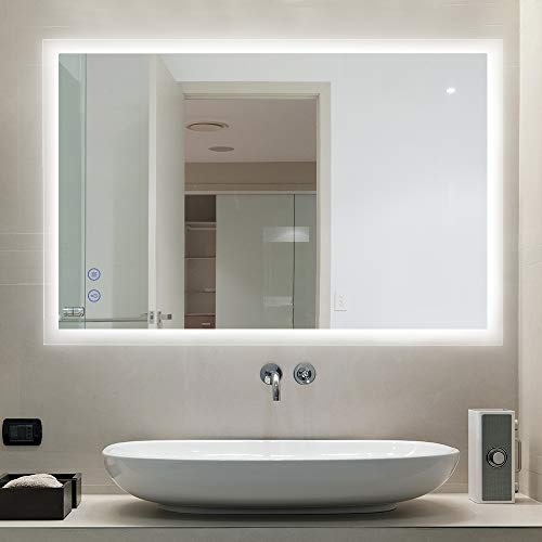 CITYMODA 28x20 Inch Lighted Bathroom Makeup Mirror, LED Wall Mount Frameless Rectangle -