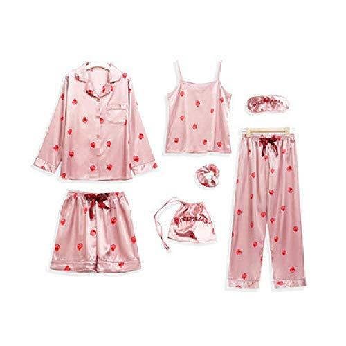Pyjamas Damen Sexy Erdbeer-Pyjamas Damen Langärmelige süße Seide Home Service Nachtwäsche Siebenteiliger Anzug