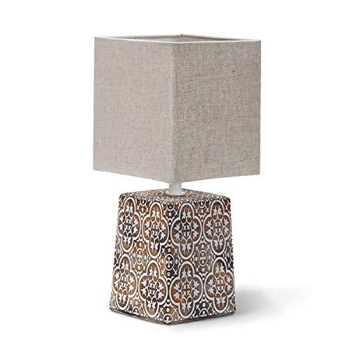 Aigostar 197056 - Lámpara de Cerámica, Lámpara de Mesa E14, LED Luz Mesita de Noche, Pantalla de Tela, Lámpara Escritorio Diseño Clasico Vintage para Dormitorio, Estudio, Salon etc