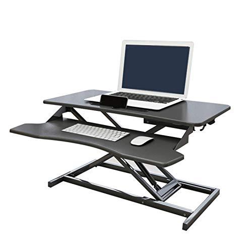 YJFENG Stehpult Konverter, Höhenverstellbar Sitz-Steh-Schreibtisch, Mit Unabhängiger Tastaturablage, 1,5 cm Dichtetafel, Für Sitzendes Personal (Color : Black, Size : 80x64x13-51cm)