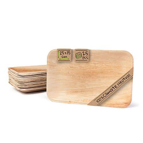 BIOZOYG Palmware Haute qualité d'assiette en Feuille de Palmier I 25 pièces d'assiettes Rectangle du Feuille Palmier 25 x 15 cm I Bio jetable Vaisselle pour fête Rapidement décomposable
