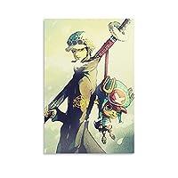 チョッパーポスター付きワンピース羅キャンバスポスター壁アートの装飾リビングルームの寝室の装飾のための絵画の印刷キャンバスポスター寝室の装飾スポーツ風景オフィスルームの装飾ギフト 16x24inch(40x60cm)