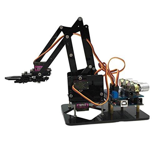 Homyl Braccio Robot Meccanico con 4 Manopole di Controllo Test di Codifica del Servomotore per Ingegneri Robotici
