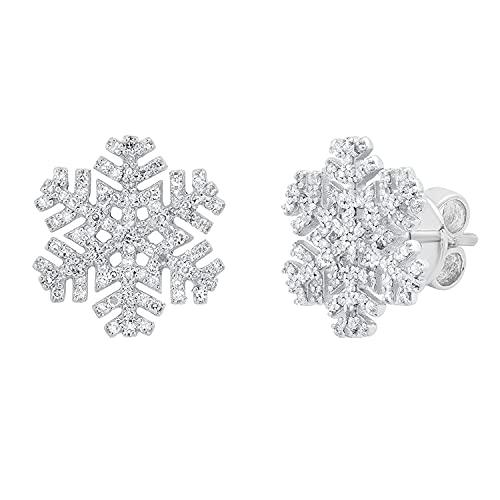 Dazzlingrock Collection Pendientes redondos de 0,35 quilates de diamantes blancos para mujer, diseño de copo de nieve, 1/3 quilates, plata de ley