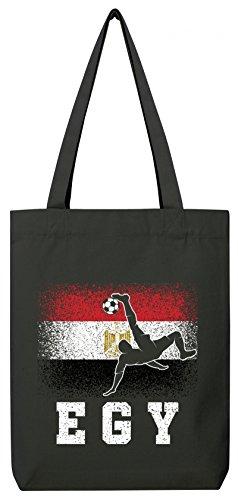 ShirtStreet Ägypten Fußball WM Fanfest Gruppen Fan Premium Bio Baumwoll Tote Bag Jutebeutel Stanley Stella Egypt Football Player, Größe: onesize,Black