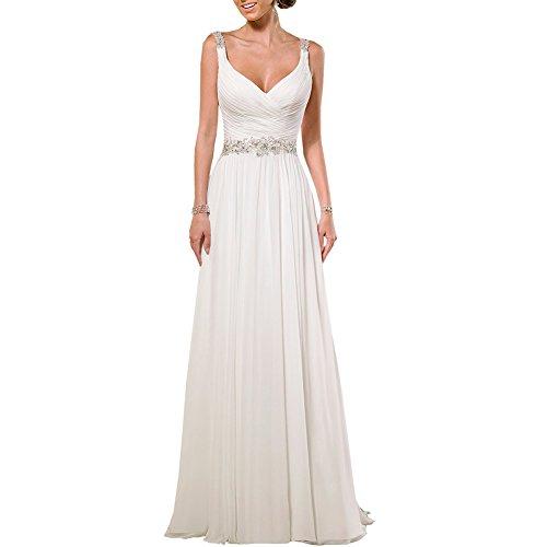H.S.D Women's V Neck Sexy Open Back Long Wedding Dress Bridal Gown Ivory 2