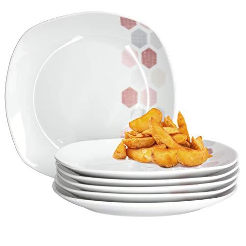 Van Well Set van 6 eetborden grote eetborden platte buffetplaat serveerborden voor menu-bijgerechten feestelijk decor edel hotel-porselein tafelservies vierkant