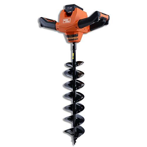 SuperHandy Earth Auger Power Head w/Steel 6'x30' Bit Ultra Duty Eco-Friendly Electric Cordless Lithium-Ion Battery & Charger for Earth Burrowing/Drilling & Post Hole Digging (Earth Auger 6' Set)