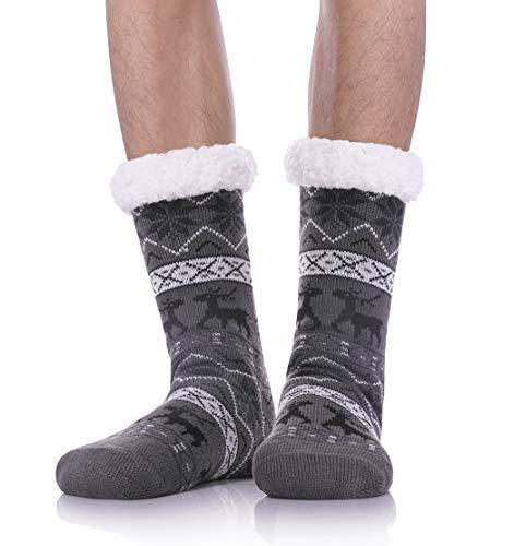Dosoni Mens Slipper Socks Fuzzy Warm Fleece Lined Thick Heavy Christmas Deer Winter Socks With Grippers- Gift Idea Snowflake Deer-Dark Grey