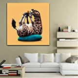 Lindo animal Pósteres Funny Fat Giraffe Panda Teléfono Lona Pintura Moderno Decorativo Decorativo Decorativo Pictures, para niños Habitación Sin marco (Size : (19.7x19.7inch)50x50cm no frame)