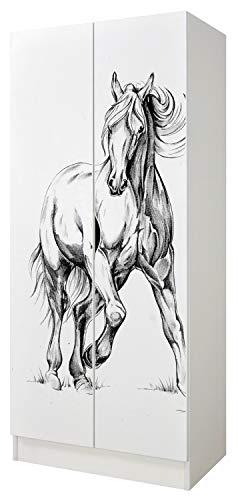 Leomark Bianco Armadio funzionale in Legno - Roma - con ante scorrevoli, mobiletto per bambini, Stile scandinavo, dim: 161,5 (Altezza) cm (Cavallo al galoppo)