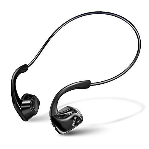 【2020進化版 Bluetooth5.0】 Bluetooth イヤホン 骨伝導 ヘッドホン 耳が疲れない マイク内蔵 耳掛け式 ヘッドホン 自動ペアリング 開放型 スポーツ イヤホン 超軽量 ハンズフリー 防水防汗 ワイヤレス ヘッドセット iPhone&Android適用 DeliToo (ブラック)