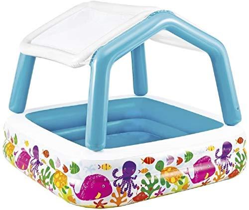 Baby-Pool mit Sonnendach und Sonnenschutz . Fisch Optik . Das Becken besteht aus zwei aufblasbaren Wülsten, an insgesamt vier Stellen kann das Sonnendach fixiert werden. Ein Bodenablassventil  ca. 157 x 157 cm