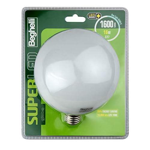 Beghelli Superled Globo Lampadina LED, E27, 16W, Luce Fredda, 6500°K, Bianca