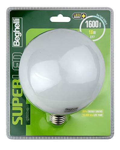 BEGHELLI Super LED Energy-Saving Lamp 16 W E27 A+ - Lámpara LED (16 W, E27, A+, 1600 LM, 15000 h, Luz de día)