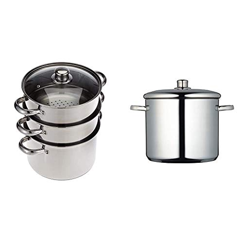 KitchenCraft 3 Tier Food Steamer Pan/Stock Pot in Gift Box, Induction Safe, Stainless Steel, 22 cm & MasterClass Induction-Safe Stainless Steel Stock Pot with Lid, 11 Litre