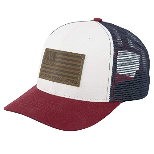 Filthy Anglers Trucker Fishing Hat :: Snapback w/Leather USA Flag Patch for Men & Women (Red, White & Blue)