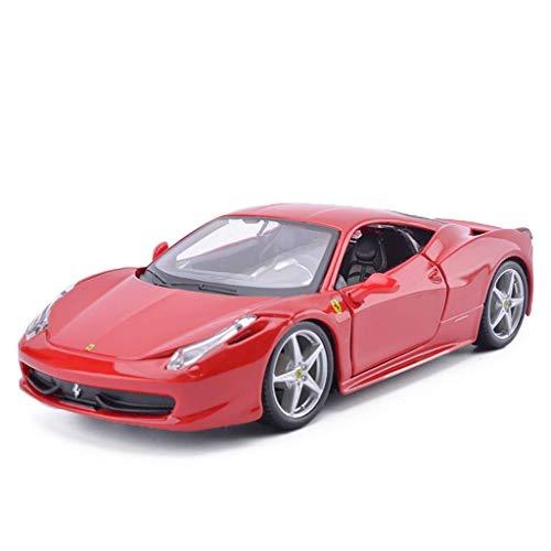 KDMB Die Cast Car Modelschaal 1:24 Ferrari-458 Roadster Toy Ornamenten Sport Auto Collectie Sieraden - Rood en Geel - 19x8x5CM (Kleur: Rood)